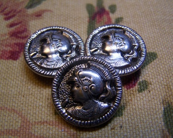 "Vintage 3/4"" Roman Soldier Head / Bust Silver Tone Metal Picture Buttons, Set of 3 (1715)"