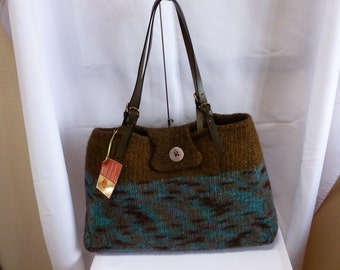 Felted Purse, Large Hand Knit Felted Tote with adjustable Leather Straps