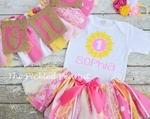 5 Piece Set: 1st Birthday Girl Outfit & Birthday Banners Birthday Outfit Baby Tutu Baby Girl Cake Smash Outfit Fabric Tutu Pink Yellow Tutu