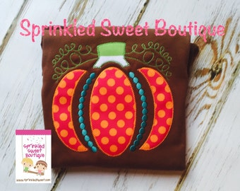 Ornamental Pumpkin Fall Applique Monogram Girls Shirt Custom