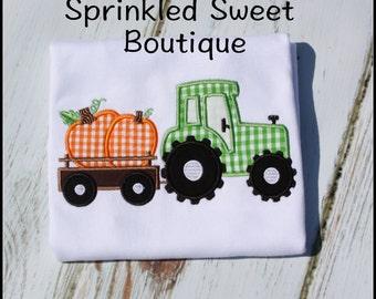 Tractor Hauling Pumpkins Halloween Fall Thanksgiving Shirt Custom Monogram Boys Girls Applique Embroidery
