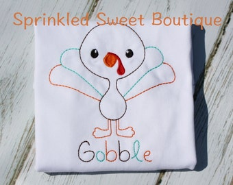 Silly Sketch Turkey Boys Thanksgiving Shirt Custom Monogram Gobble Fall Applique Embroidery