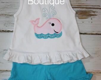 Seersucker Whale Girl Applique Embroidery Girls Summer Shirt Tank Custom Monogram