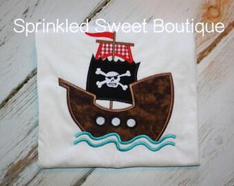 Pirate Ship Boys Applique Shirt Embroidery Summer Shirt Tank Custom Monogram Disney Captain Hook