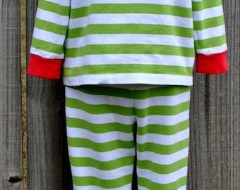 Stripe Christmas PJ's Custom Applique Monogram Christmas PJ's Pajama In Stock and Ready to Ship Very Limited Matching Sibling Polka Dot