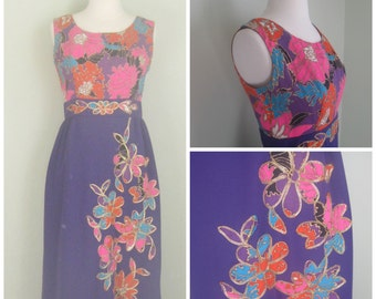 1960's Purple Floral Maxi Dress// Applique