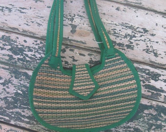 1980's Green Striped Woven Straw Purse