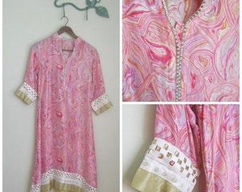 50% off sale Vintage 1960's Pink Paisley Silk Tunic// Beaded// Rhinestones//