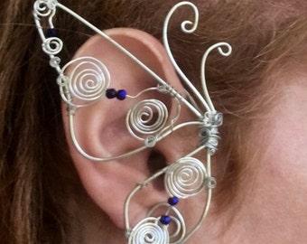 Butterfly Earcuffs, Ear Cuffs, Butterfly Earrings, Wire Wrapped Butterfly, No Piercing, Wire Ear Cuffs, Burner Style, Festival Jewelry,