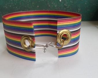 LGBT, LGBTQ, Rainbow Bracelet, Geeky Bracelet, LGBT Pride Bracelet, Bronies Bracelet, Upcycled Electronics Bracelet, Ribbon Cable Bracelet,