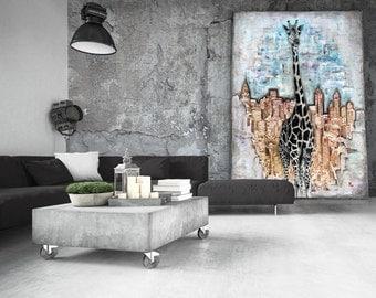 "Giraffe in the City, 13"" x 19"" Art Print, Home Decor, Wall Art, Giclee from Original Painting"