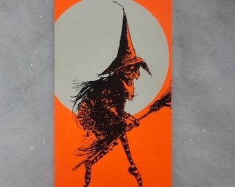 Vintage Unused Bright Orange Black Witch Contemporary Hallmark Card Halloween Card Unused Witch Card Happy Halloween Card Witch