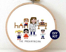 Medical Cross Stitch Kits of Paediatrician. gift for Doctor. DIY Christmas gifts for Paediatrician. Paediatrician gifts