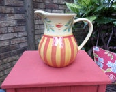 Lovely Gail Pittman Design Ceramic Pitcher-Handpainted-Yellow/Burgundy/Green-Stripe-Country Cottage