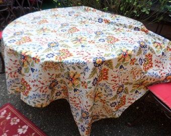 "Gorgeous Colorful Floral 52""x70"" Poly/Cotton Tablecloth/Table Linen/Cover-Blue/Red/Yellow/Orange/Green"