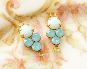 Petite Mint Alabaster Pacific Green Opal Swarovski Rhinestones Round Stones in Brass 2 ring Connector Settings - 2