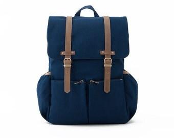 Lightdays Diaper Bag Backpack / Canvas Backpack / Blue