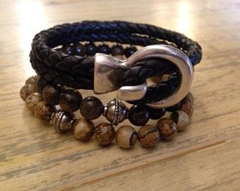 Mens Leather Beaded Bracelets Stacking Bracelets Boyfriend Gift for Him Leather Bracelet Mens Bead Bracelet Bohemian Bracelet Husband Gift