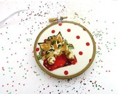 CLOSING SALE - Orange Cat Christmas Ornament Embroidery Hoop - Holiday Ornament - Ginger Kitten on Red Dots