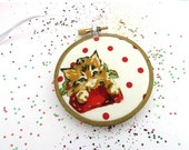 SHOP CLOSING SALE - Orange Cat Christmas Ornament Embroidery Hoop - Holiday Ornament - Ginger Kitten on Red Dots