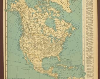 Vintage Map North America Original 1926