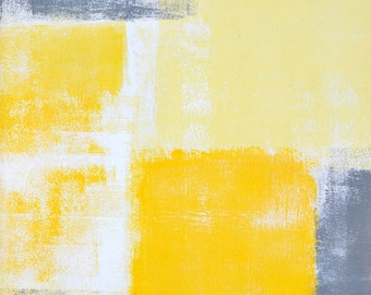 More Angles, 2015 - Original Acrylic Artwork Modern Contemporary Abstract Painting Wall Decor Free Shipping Grey Yellow White 9x12 Paper