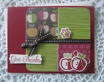 Handmade Greeting Card: Give Thanks (Fall Apples)