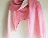 Natural Safflower dyed PINK double-faced Linen scarf
