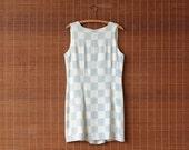Blue + White Checker Shift Dress Mini Mod Dress