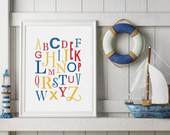 Printable Alphabet Nursery Art - ABC Nursery Print - Digital Download Nursery Print - Baby Room Primary Colors