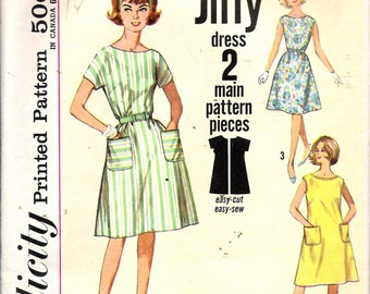 "Vintage 1960's Simplicity 4977 Jiffy Dress Size Medium 14 - 16 Bust 34"" - 36"""