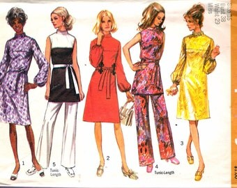 Vintage 1970 Simplicity 9125 Misses Dress or Tunic & Pants Sewing Pattern Size 16 Bust 38""