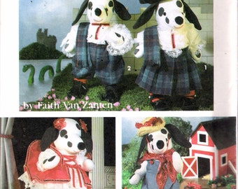 Vintage 1992 Simplicity 7864 Stuffed Dalmation & Clothes Sewing Pattern by Faith Van Zanten UNCUT