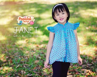 JANET Blouse Top PDF Sewing Pattern & Tutorial by Popolok Design - Girl Sizes Age 1 to 8