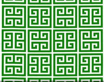 1 yard Towers Kelly Green White - Greek Key - Home Decor  - Premier Prints