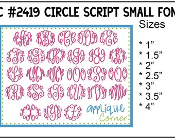INSTANT DOWLOAD 2419 Circle Script Monogram Font SMALL bx, dst and pes only digital design for embroidery machine by Applique Corner
