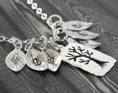 Family Tree Necklace, Initial Necklace, Silver Pendant, 4 Children and Family Initials, Personalize Jewelry, Mother Necklace, Grandma Gift