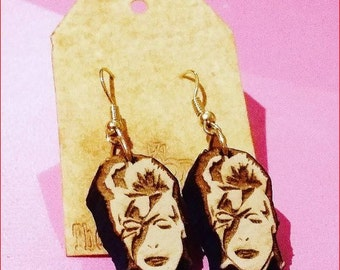 DAVID BOWIE LIGHTNING Bolt Wood Earrings 1 Pair Laser Cut Wooden Pick from Studs or Dangle Earrings 1""