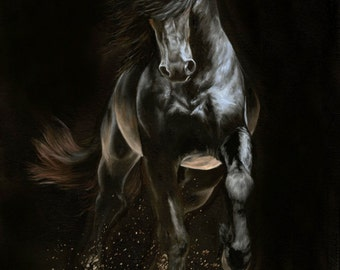 "Nicolae Equine Art Nicole Smith horse artist Fine art high quality Giclee reproduction of original artwork ""Shadow Step"" 8x10"