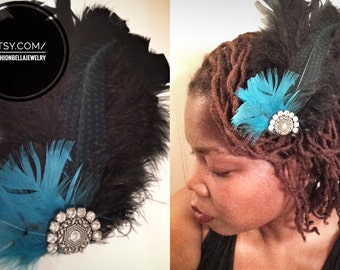 Black and blue feather accessories