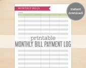 Monthly Bill Payment Log Printable - Garden Hues