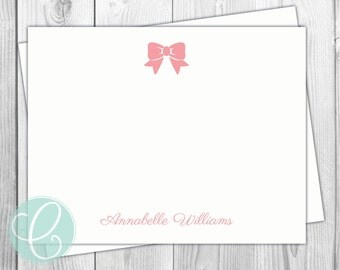 Bow Stationery Girls - Flat Note Cards - Set of 12 - Personalized - Baby Girl Shower - Thank You Cards - Birthday Party - Pink Bow