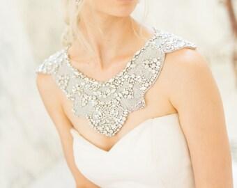 Shoulder Necklace- Bridal Body Jewelry Opal Rhinestone Trim Back Necklace Wedding Capelet Vintage Statement Bib, Camilla Christine OPHELIA