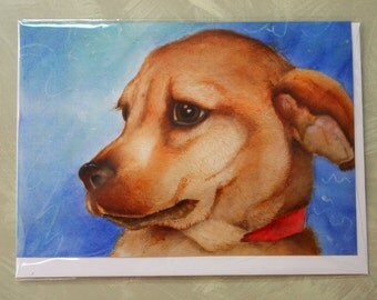 dog portrait Sherbet blank greeting card benefits dog rescue