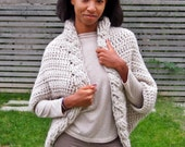 Crochet PATTERN women cable shrug bulky cape oversized cardigan DIY tutorial, Instant download
