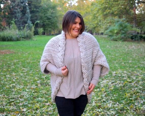 Crochet Pattern Women Cable Shrug Bulky Cape By Byaccessorise