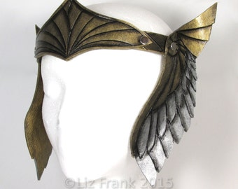 Handmade Leather Crown, Headwear, Gold and Silver Inverse Winged Crown, Halloween Costume, Valkyrie, Viking, Theater Prop,
