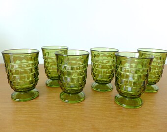 Green Whitehall 5 ounce juice glasses in excellent condition