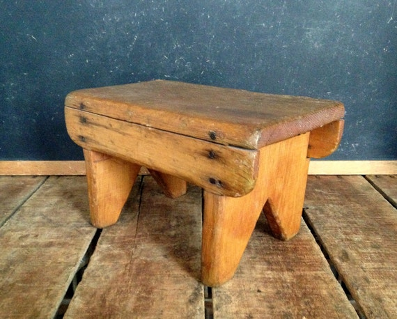 Antique Step Stool Small Antique Wooden Stool Four Legged