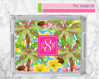 Lucite Tray With Palm Trees Monogrammed Lucite Tray Personalized Acrylic Tray Custom Serving Tray